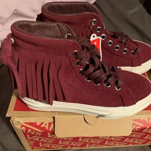VANS girls suede burgundy high tops size 11